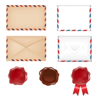 4 envelopes and 3 wax seals isolated