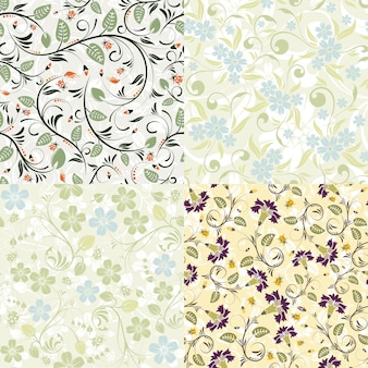 4 flower seamless patterns with ladybug. vector template for cover, flyer, brochure, greeting card.