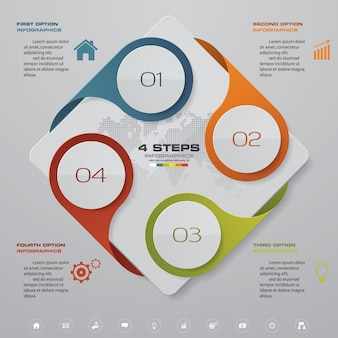 4ステップのプロセス設計のinfographics要素。
