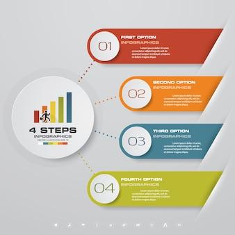 プレゼンテーションのための4段階のinfographics要素図。