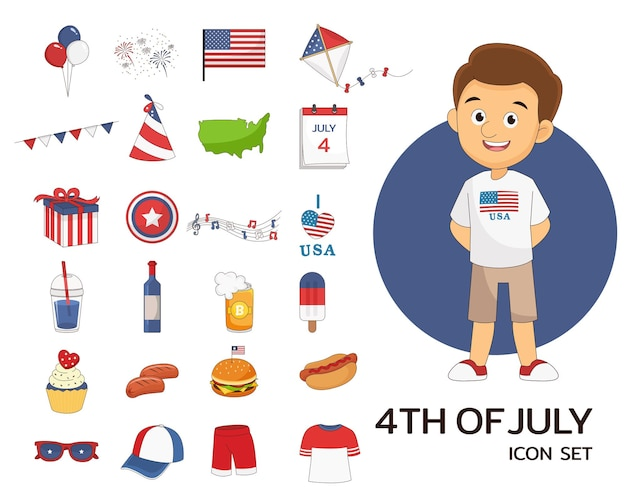 4 of july set concept flat icons