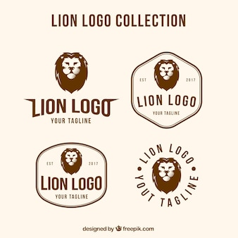 4 lion logos with different compositions
