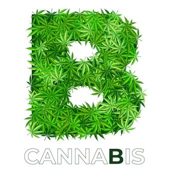 6の4。文字b.大麻またはマリファナの葉のロゴのデザインテンプレート。エンブレム、ロゴ、医療サービスまたはパッケージの広告用の麻。フラットスタイルのアイコン。孤立