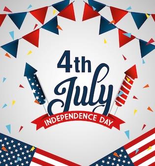 7月の幸せな独立記念日の旗と花輪がぶら下がっている4