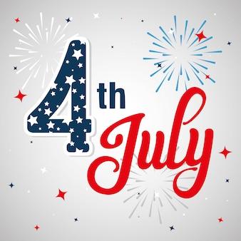 7月4日の飾り付きハッピー独立記念日