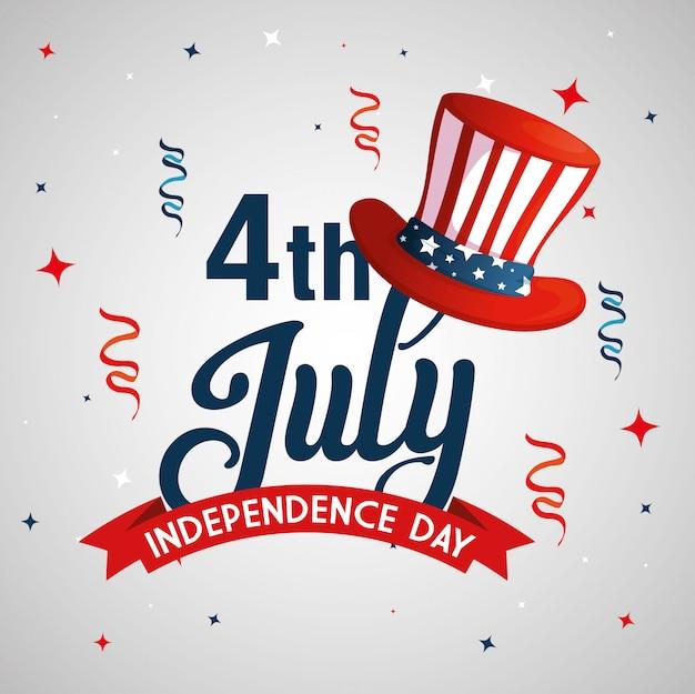 7月4日のハットとデコレーションのハッピー独立記念日