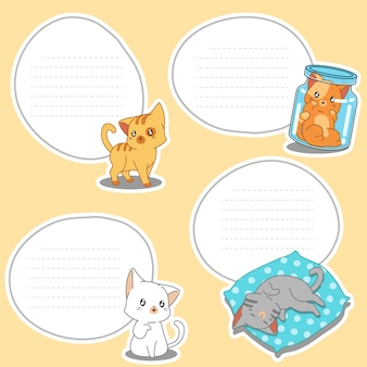 4 paper blank of drawn little cats.