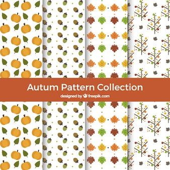 4 patterns with autumn leaves
