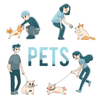 4 people with pet dogs cute