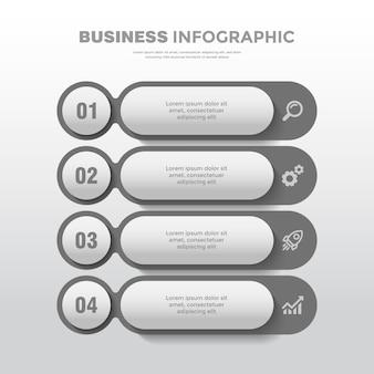 4ポイントタイムラインモダンなソフトグレービジネスインフォグラフィックテンプレート