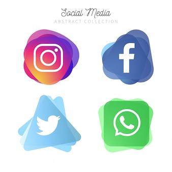 人気のある4つのソーシャルメディア抽象的なロゴタイプ