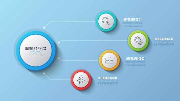 4つのオプションのインフォグラフィックデザイン、構造図、presentati
