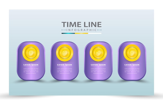 4 realistic time line infographic template style
