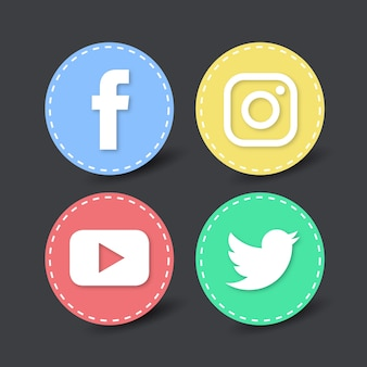 4 round icons for social networks