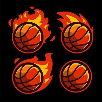 4 set basketball ball with fire effect template