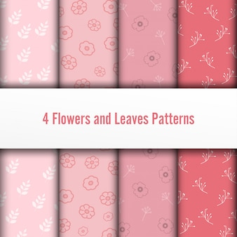 4 set flower and leaves vector seamless patterns. romantic chic texture can be used for printing on fabric and paper or scrap booking. pink colors.