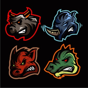 4 set mascot logo gaming vector template