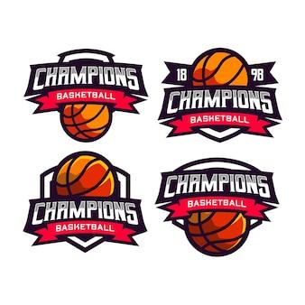 4 set sports basketball badge logo