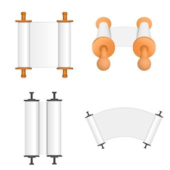Набор свитков торы из библии. плоская иллюстрация из 4 свитков торы библии shavuot вектор макет для веб