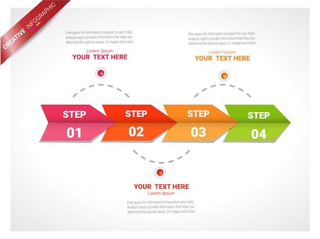 ビジネスデータの視覚化。プロセスチャート。グラフの抽象要素、4 steとの図