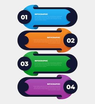4ステップのビジネスインフォグラフィックテンプレート