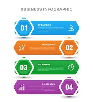 4ステップフラットビジネスインフォグラフィックテンプレート