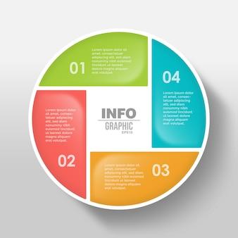 4ステップモダンサークルビジネスインフォグラフィックテンプレート