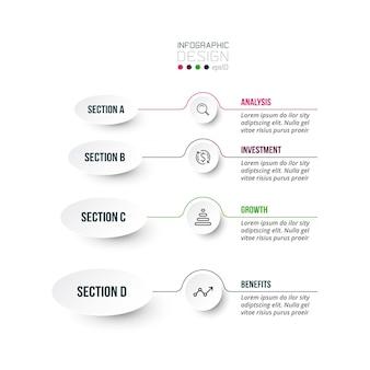 4ステップのプロセスワークフローインフォグラフィックテンプレート