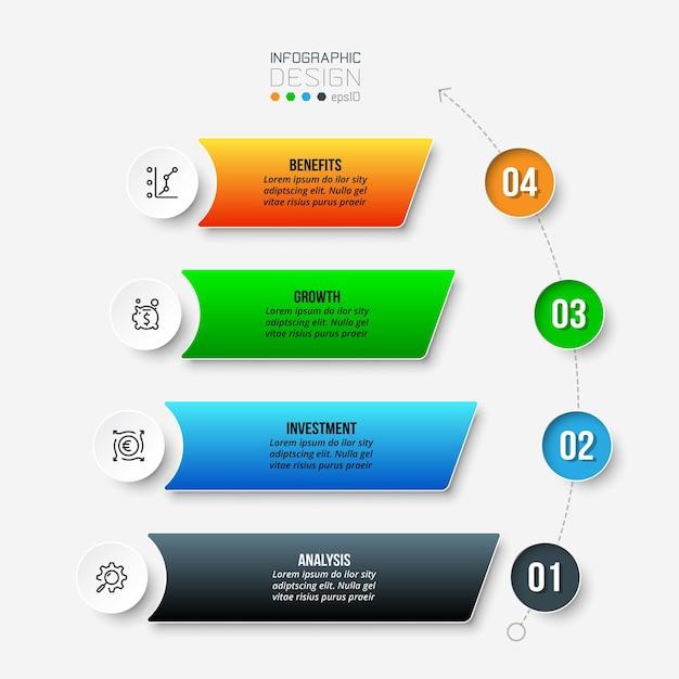 Шаблон инфографики рабочего процесса 4 этапов