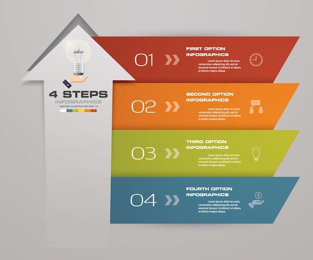 4 steps of arrow infografics template for presentation.