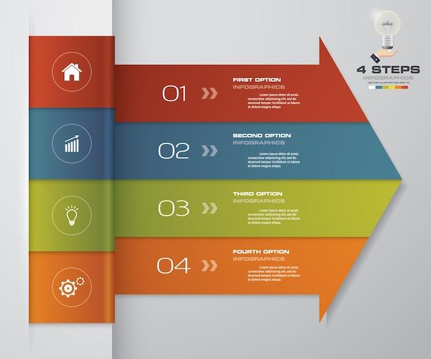 プレゼンテーションのための4ステップ矢印infographics要素図。