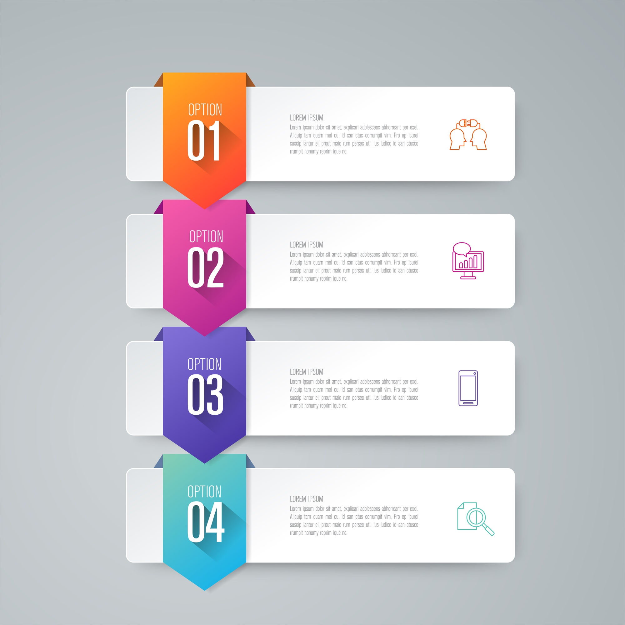 4 steps business infographic elements for the presentation