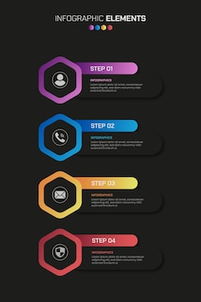 4 steps business infographics elements with gradient shapes over the black surfac