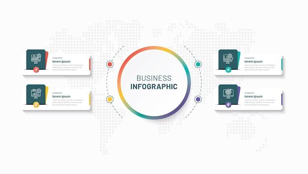 4 шага креативный бизнес инфографический шаблон