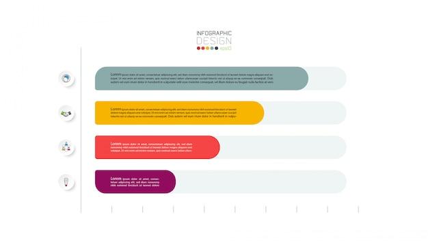 Схема 4 шагов. инфографическая иллюстрация.