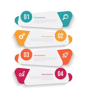 4ステップフラットビジネスインフォグラフィックテンプレートデザイン