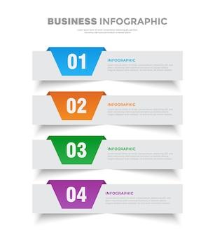 4ステップフリップフラットビジネスインフォグラフィックテンプレートデザイン