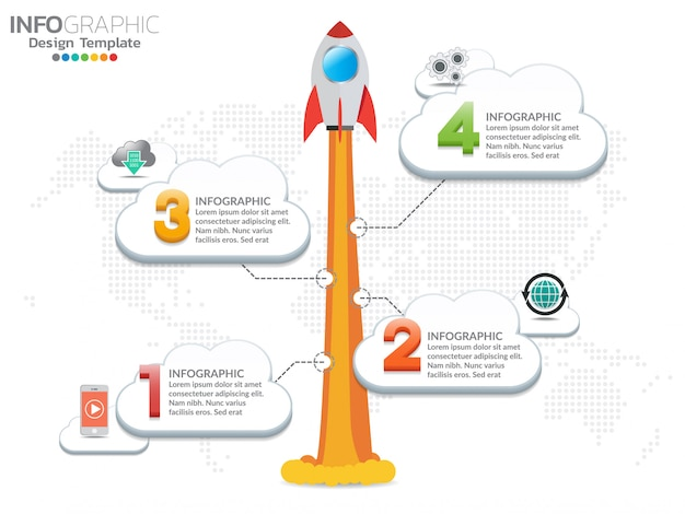 4 steps infographic design of the rocket or spaceship launches through the clouds.