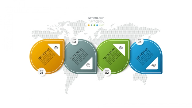 Шаблон оформления инфографики 4 шага.