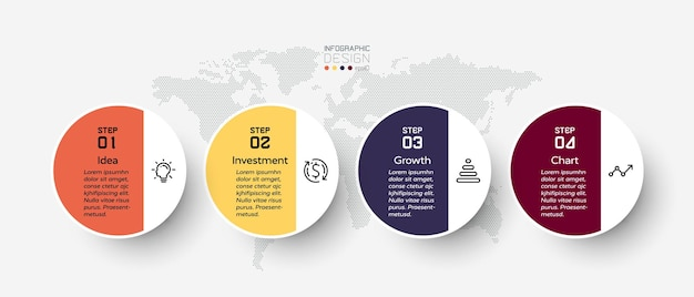 4 шага инфографики иллюстрации.