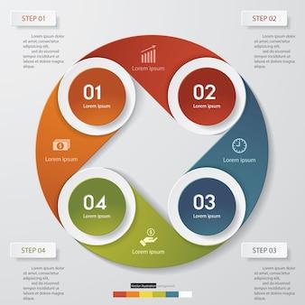 プレゼンテーションのための4つのステップinfographics要素図