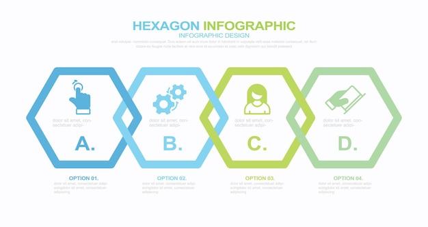 4ステップインフォグラフィックストックイラストインフォグラフィック六角形4つのオブジェクトベクトルフローチャート