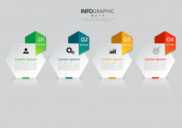 4 steps infographics template.