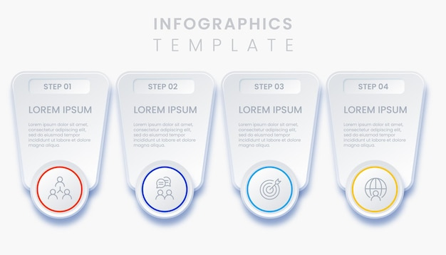 4 steps modern business infographic template illustration