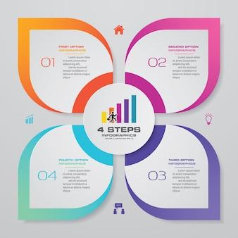 4 steps process chart infographics element.