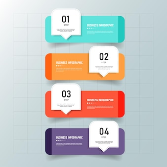 4 шага процесса инфографики шаблон