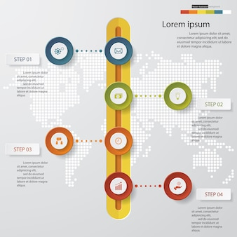 4 steps Timeline arrow infographic element