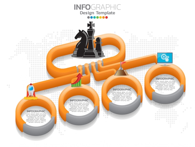 4 steps timeline infographic design and icons can be used for workflow.