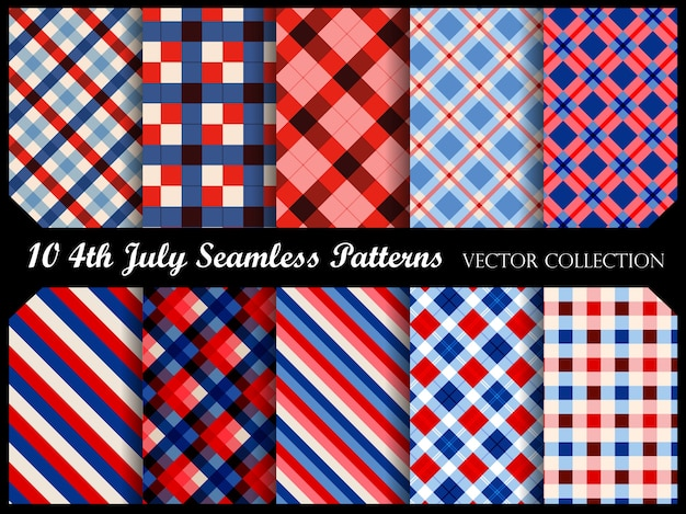 4 th of july patriotic seamless patterns