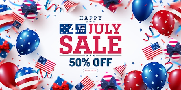 4 th of july sale poster.usa independence day celebration with many american balloons flag.